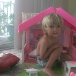 He had fun for a few days playing with my old Barbie house and car.