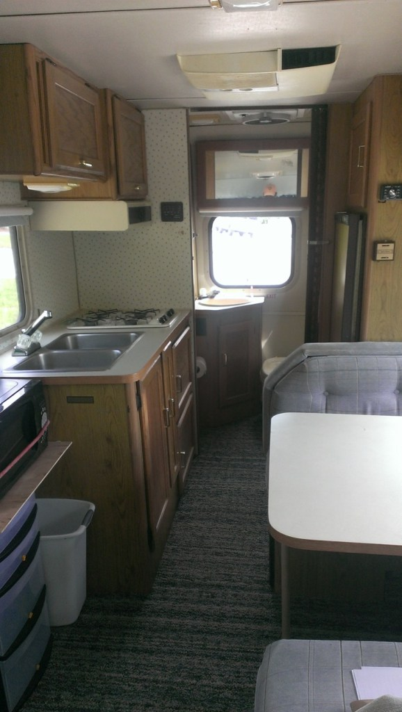 Inside accommodations include a dinette table that converts to a bed, 4 burner stove, double sink, electric or propane fridge, shower, toilet, lots of storage lockers and a bed above the cab.
