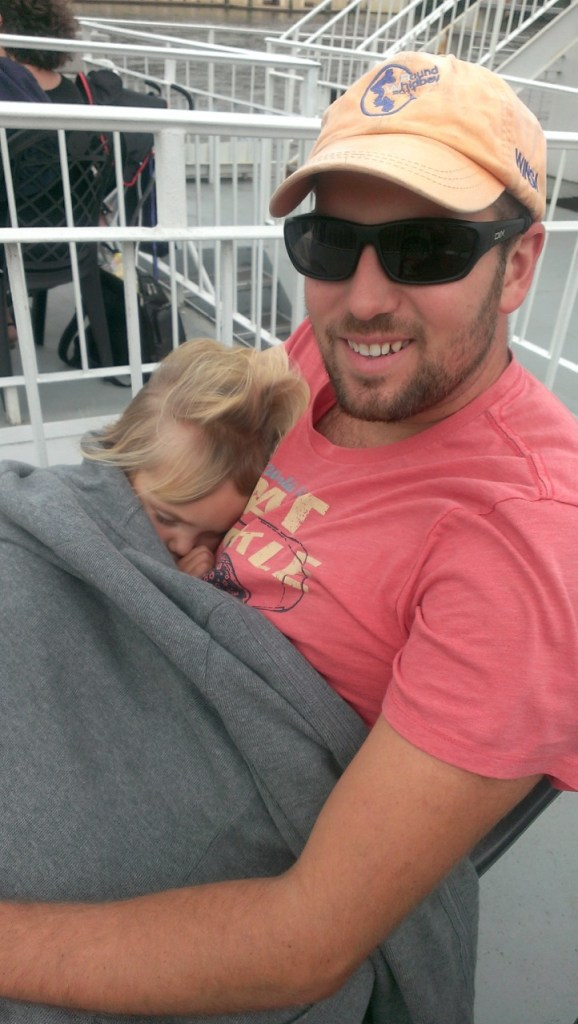 Sully fell asleep on the clipper boat ride