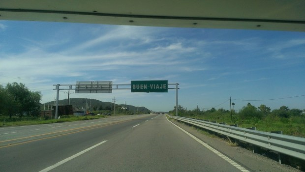 "Buen Viaje road sign means ""Have a good trip"""