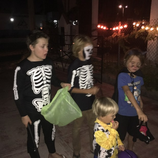 The whole gang trick or treating. Ethan from Coastal Drifter, Dyland and Jayden from Sangvind.