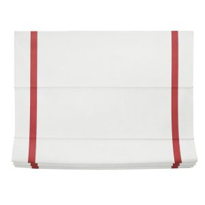 White and Red Linen Roman Shade