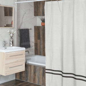 White and slate grey linen shower curtain