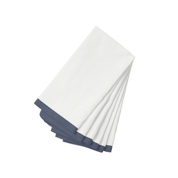 White with navy Linen Napkin-6 Pack