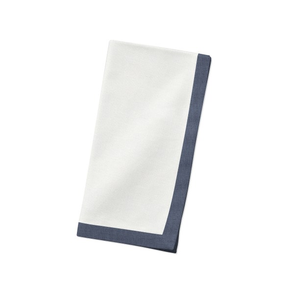 White with navy Linen Napkin Folded