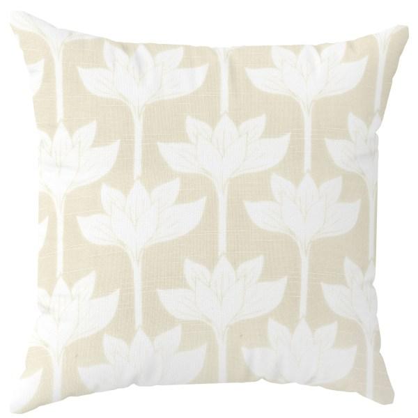 Boho Floral Beige Throw Pillow
