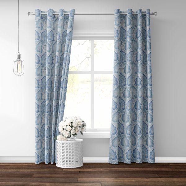 Naticia Grommet Blue Paisley Fabric