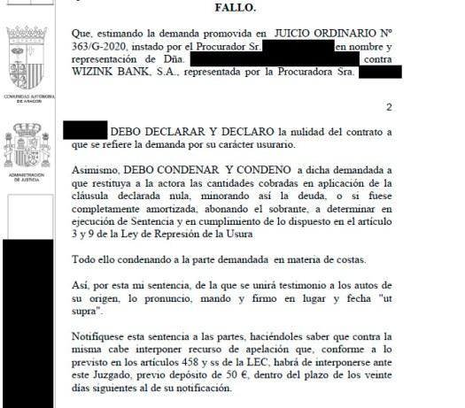 sentencia contra wizink zaragoza