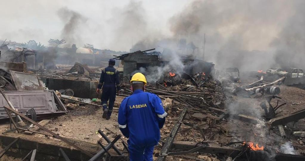 LASEMA officials at the site of the Ifako-ijaye gast tanker explosion