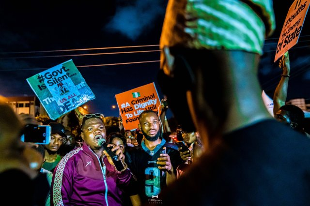 Popular Nigerian comedian Mr Macaroni at the End SARS Protest at Lagos State House of Assembly