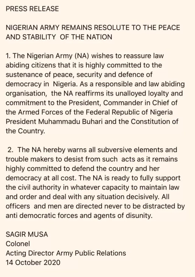 Press release of the Nigerian Army on #EndSARS Protests