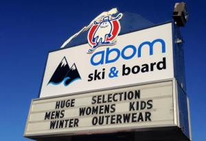 Abom Ski & Board Calgary sign