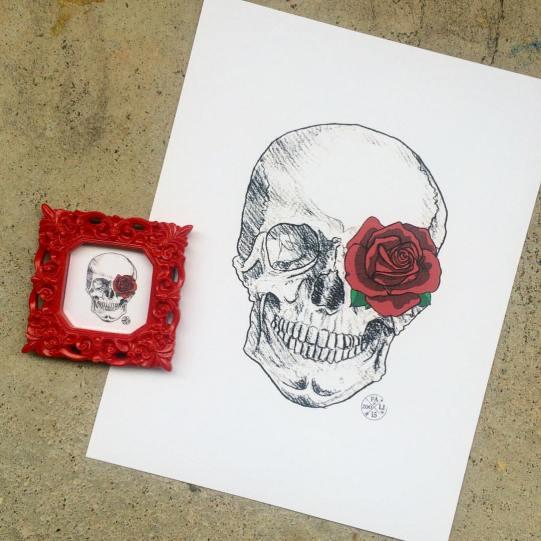Rose Skull Framed Mini Print (in black or white background) - $10