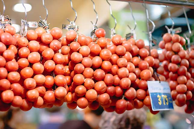 Seasonal tomatoes can be found at any food market in Barcelona