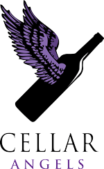 Logo for Cellar Angels. Image of a wine bottle with purple wings.