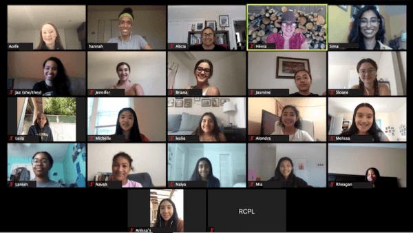 Screenshot of a Zoom meeting with 15 teen girls*