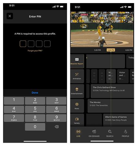 Screenshot of the WarnerMedia Ride app