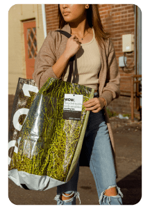 Woman holding best recycling bag