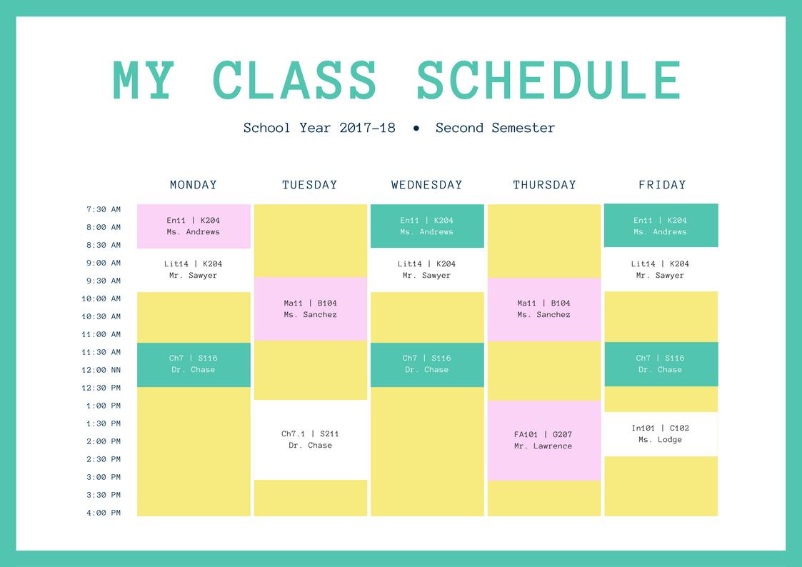 Free Online Class Schedules Design A Custom Class