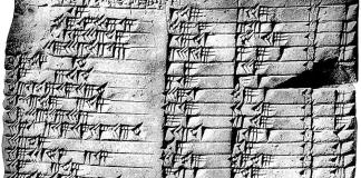Babylonian clay tablet showing methematics in cuniform.
