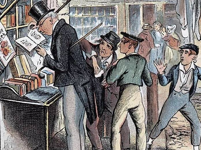 Detail from a George Cruikshank illustration for Oliver Twist by Charles Dickens