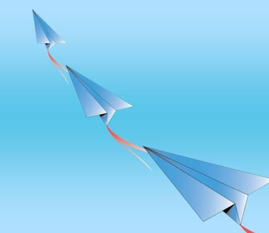 Paper planes in flight