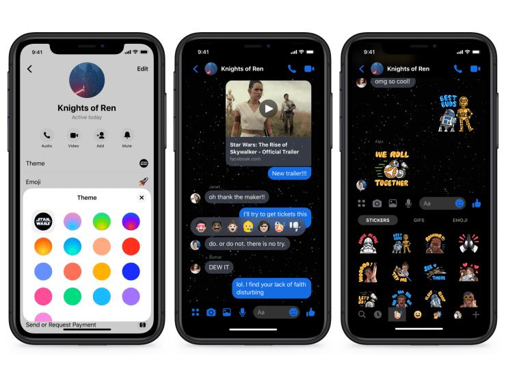 Phone screens showing Star Wars Messenger chat theme.