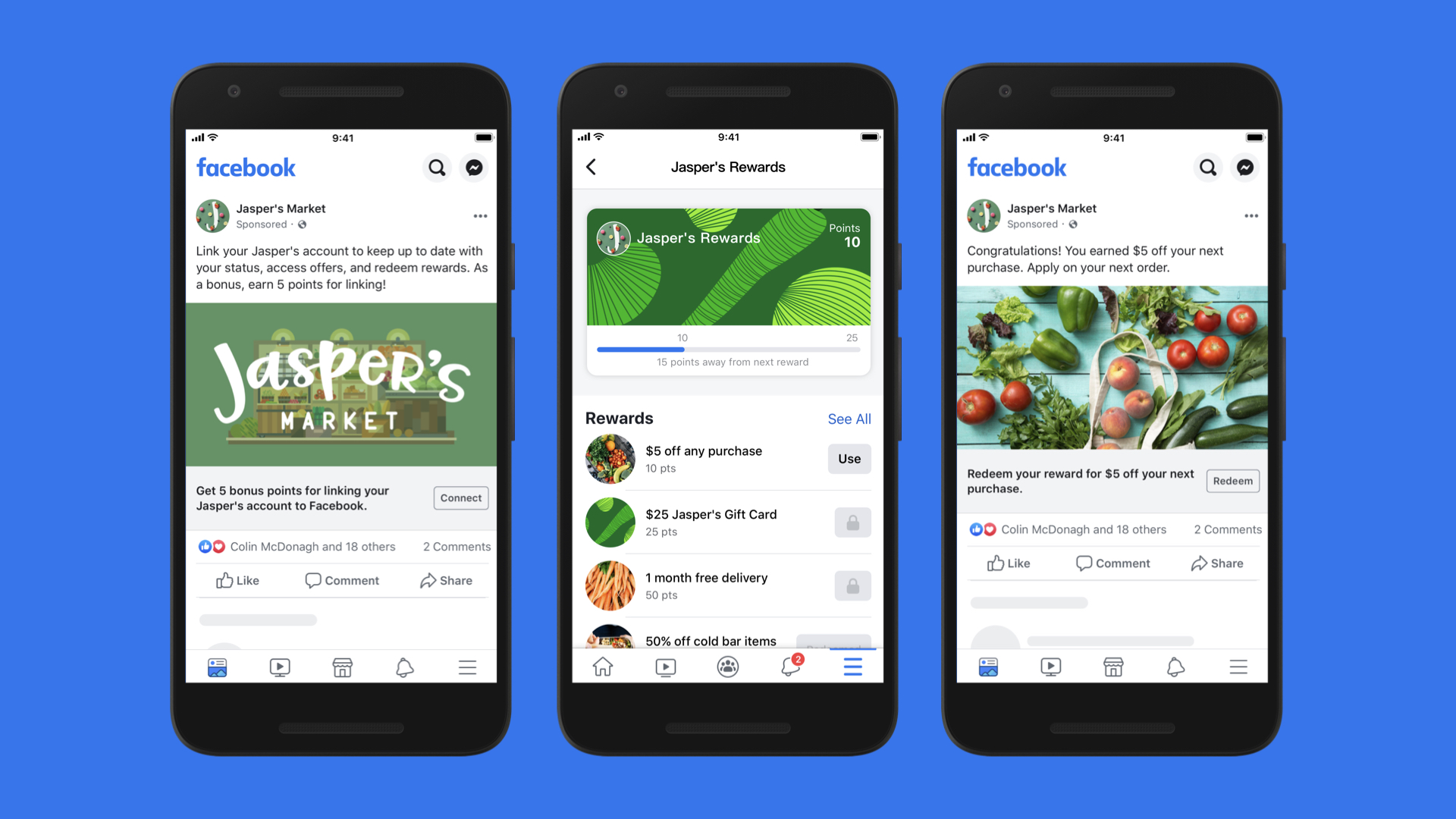 Screenshots of connected loyalty programs on Facebook