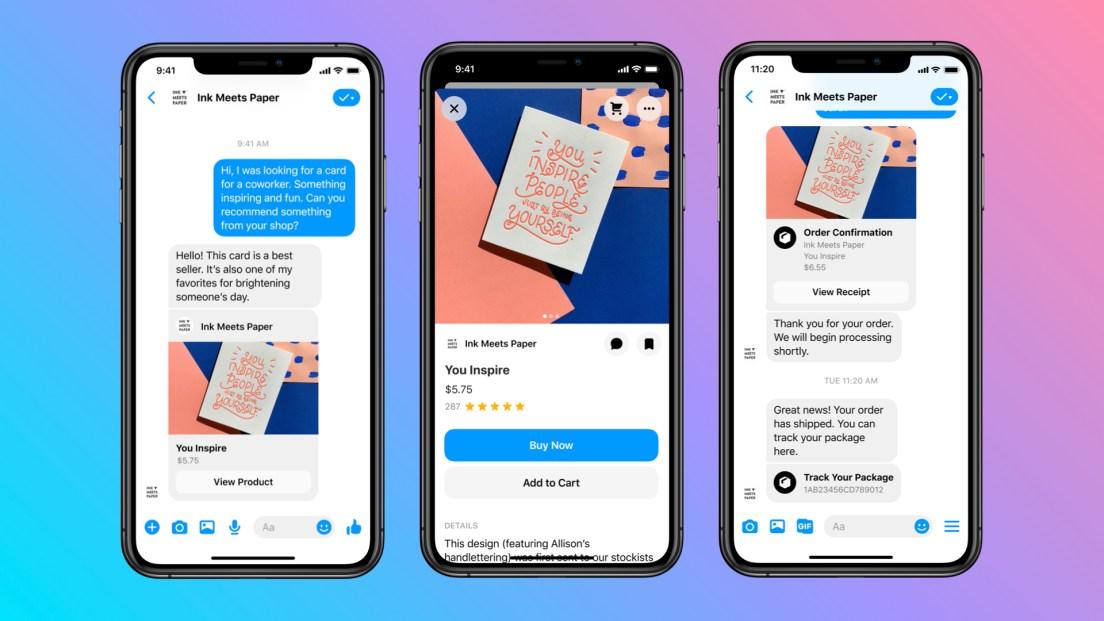 Screenshots of messaging a business on Messenger