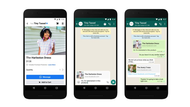 Screenshots of messaging a business on WhatsApp