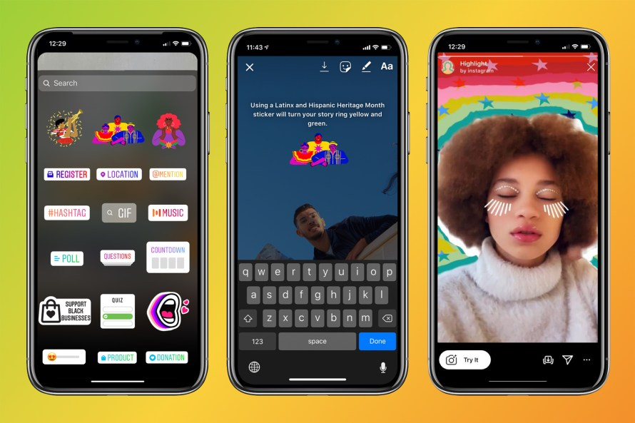 image of Instagram stickers and AR camera effects for Latinx and Hispanic Heritage Month