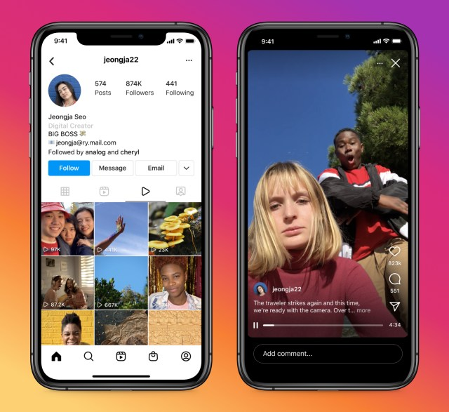 Screenshots of the new Video tab on Instagram