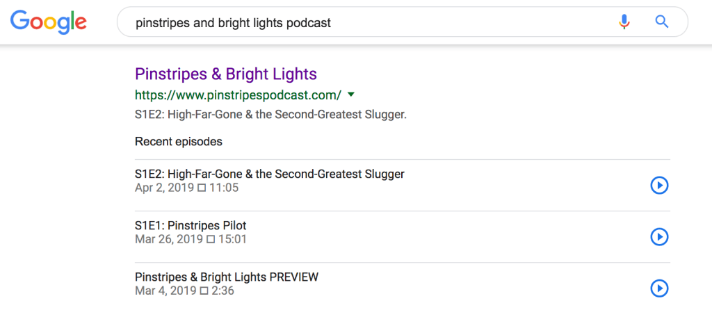 Search results for Pinstripes and Bright Light Podcast includes playable audio