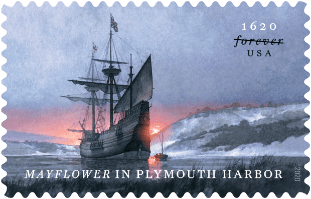 Mayflower in Plymouth Harbor stamp
