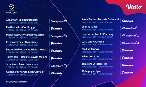 Jadwal Pertandingan Liga Champions 1 – 3 Oktober 2019