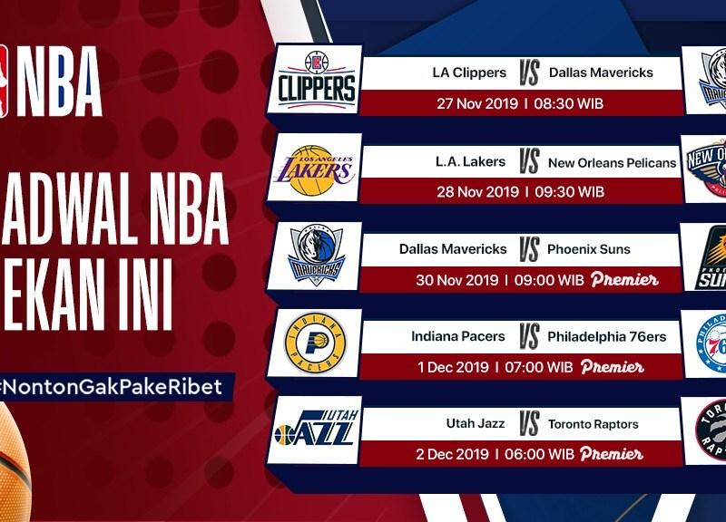 Jadwal NBA Pekan ini (27 November – 2 Desember 2019)