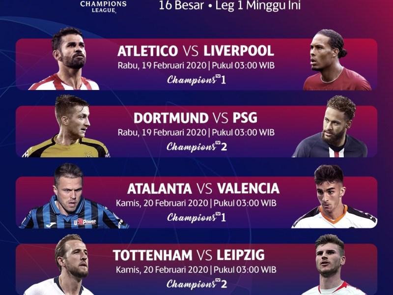 Jadwal Pertandingan Liga Champions 16 Besar Leg 1