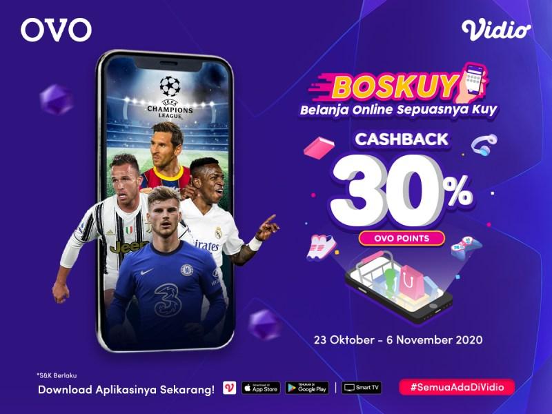 Promo BOSKUY Langganan Vidio pakai OVO Cashback 30%!