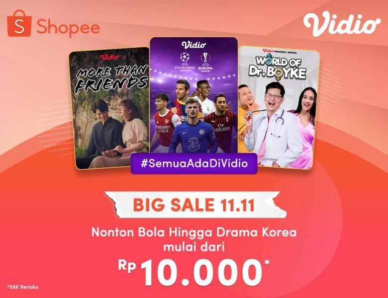Langganan Vidio Premier Mulai Dari 10 Ribu Selama Promo 11.11 Big Sale Shopee