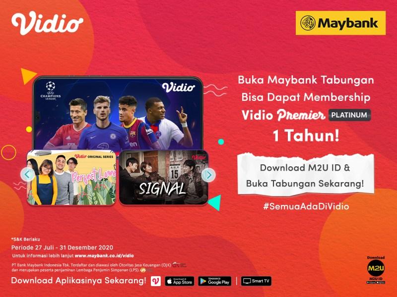 Nabung Bareng Maybank Melalui M2U ID App Sekarang Juga! Dapatkan GRATIS Nonton Sepuasnya 1 Tahun di Vidio!
