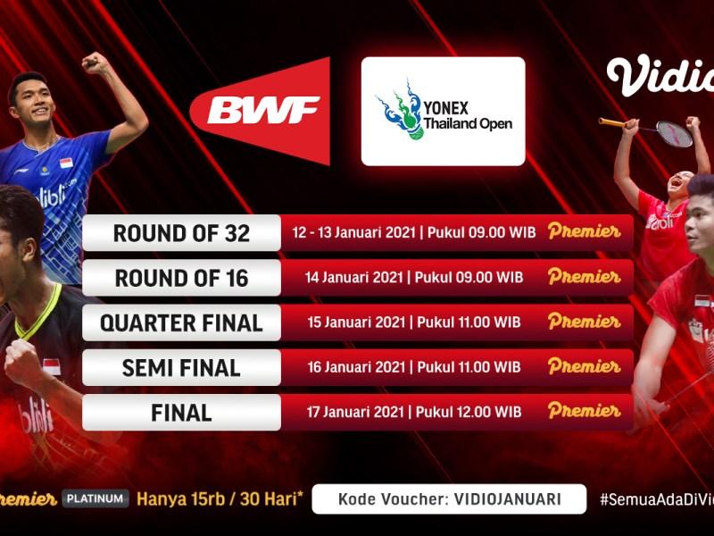 Detik-Detik YONEX Thailand Open 2021, Ini Link Badminton Live BWF & TVRI