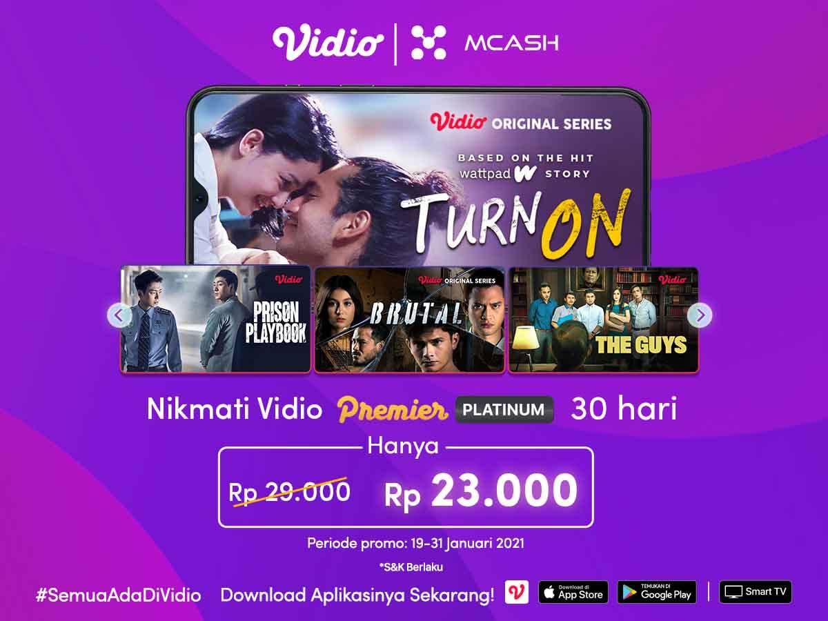 Promo Januari 2021 dari MCash dapatkan diskon Vidio Premier Platinum cuma Rp 23.000,-