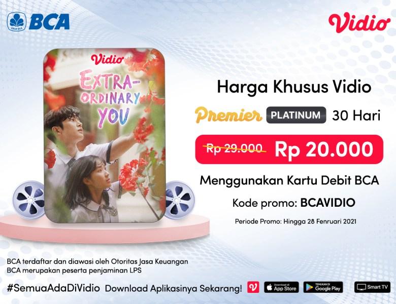 Lebih Hemat! Langganan Vidio Premier Platinum 30 Hari Pakai Promo Kartu Debit BCA Mastercard!
