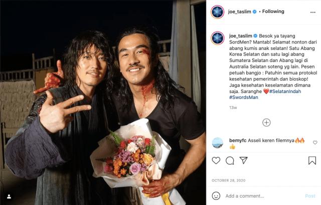Keakraban Joe Taslim & Jang Hyuk di film The Swordsman.