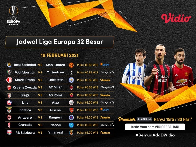 Jadwal dan Live Streaming Liga Europa 2020/2021 Babak 32 Besar di Vidio, Pertandingan Seru Manchester United, Arsenal Hingga AC Milan