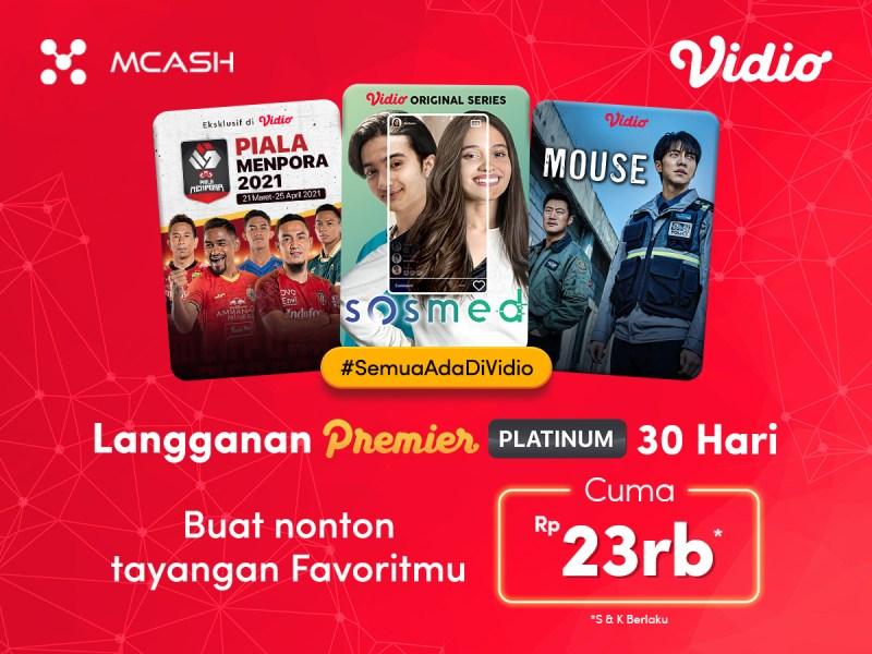 Langganan Vidio Premier Platinum Sebulan Penuh dengan Promo MCash Hanya 23rb!