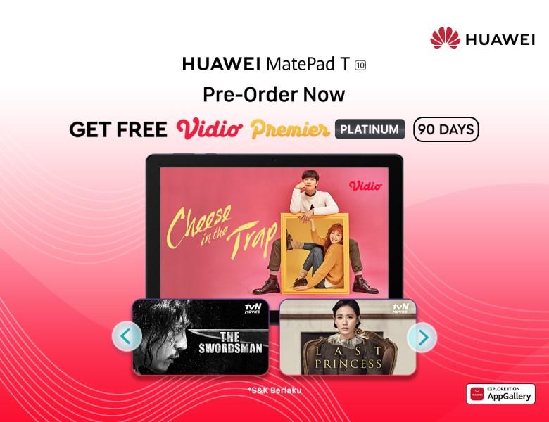 Kabar Gembira! Beli Huawei MatePad T10 & Dapatkan GRATIS Langganan Vidio 90 Hari!