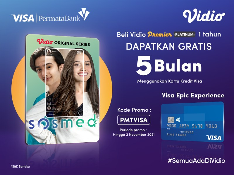 Beli Vidio Premier Platinum Pakai Promo Kartu Kredit Visa PermataBank, Dapat Gratis Ekstra 5 Bulan!