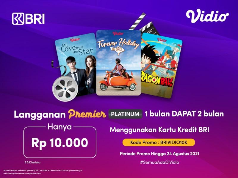 Promo Beli Vidio Premier 1 Bulan dengan Kartu Kredit BRI Dapat 2 Bulan!