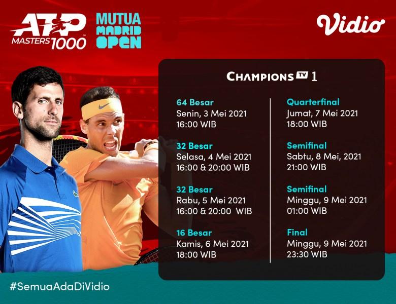 Live Streaming ATP 1000 MUTUA Madrid Open 2021 di Vidio, Jangan Sampai Ketinggalan